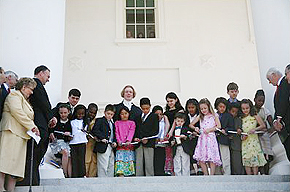Children from around the Commonwealth cut a ribbon at the Capitol's South Portico during the 2007 re-dedication ceremony.