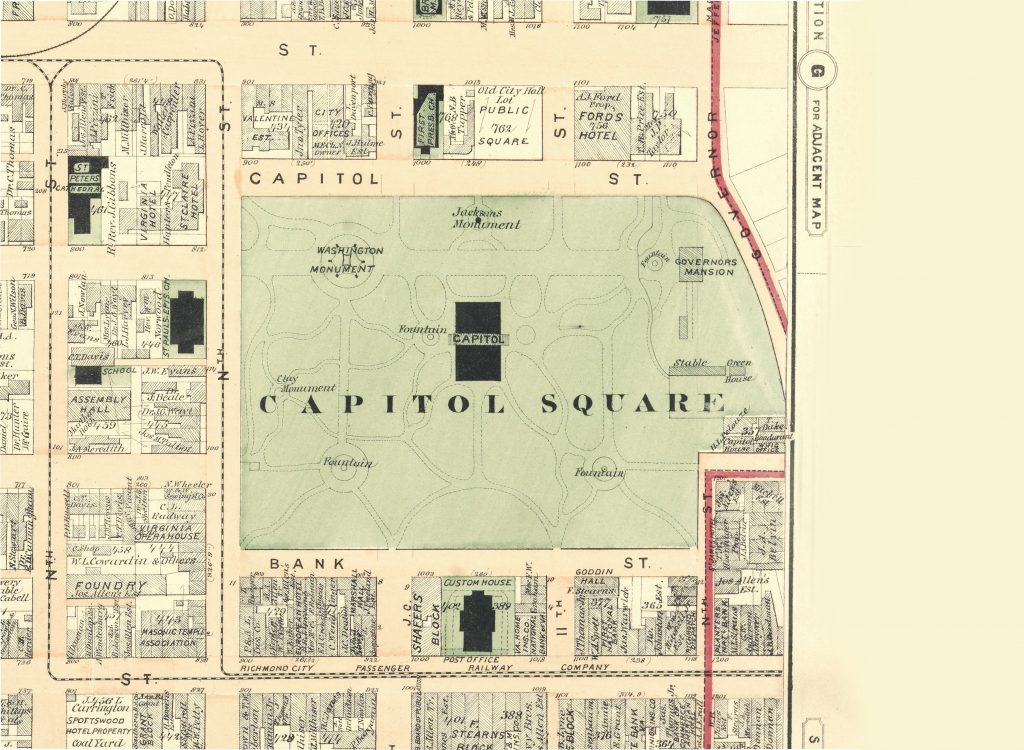 Capitol Square Map, circa 1876, highlighting the John Notman landscape design
