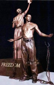 The monument, will feature a 12-foot bronze statue representing newly freed slaves.