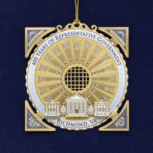 Eighth in a series of collectible ornaments, the 2019 Capitol Square Ornament, The Capitol dome is the inspiration for the 2019 ornament, as a symbol of the 400th anniversary of the planting of democracy in Virginia and the continued strength of the representative government in America.