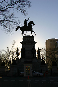 The George Washington equestrian monument sits just west of the Capitol on Capitol Square.