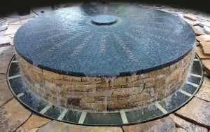 "The centerpiece of ""Mantle"" is a fountain inscribed with the many Virginian native tribes names and the rivers associated with their names."