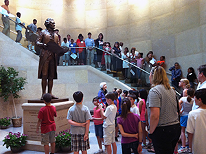 The Thomas Jefferson statue in the Capitol extension serves as a focal point for visitors and greets tour groups every day.