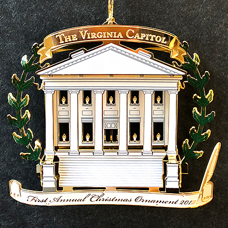 The First Annual Ornament, introduced in 2012, features the Jefferson-designed Capitol.