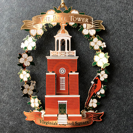 The Second Annual Virginia Capitol Ornament, introduced in 2013, features the historic Bell Tower.